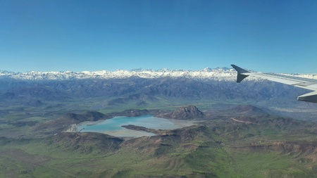 andes mountain: Aerial view of a lake near the Andes mountain range nevada