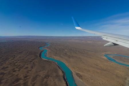 Aerial view of river thawing in Argentina Patagonia