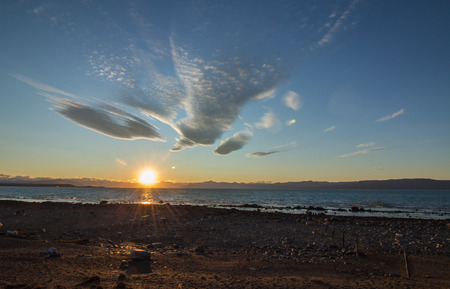 Argentine sunset by the lake, patagonia