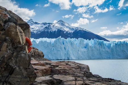 lifeguard on the coast of Argentina lake next to Perito Moreno Glacier
