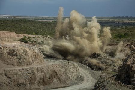 blasting: quarry blasting Stock Photo