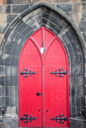 gothic old red door
