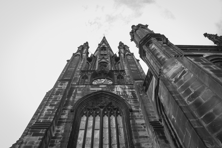 medieval scottish church seen from below Standard-Bild - 119550280