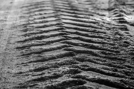 footprint on the road Stockfoto