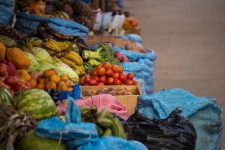 Fruit market street in Samaipata, Bolivia