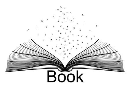 libros abiertos: libro y letras
