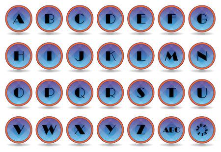 Set blue alphabet icons with border orange Vector