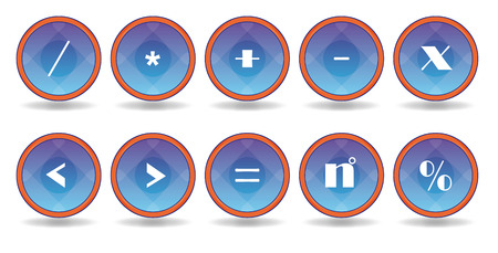 set blue icons with white symbol Vector