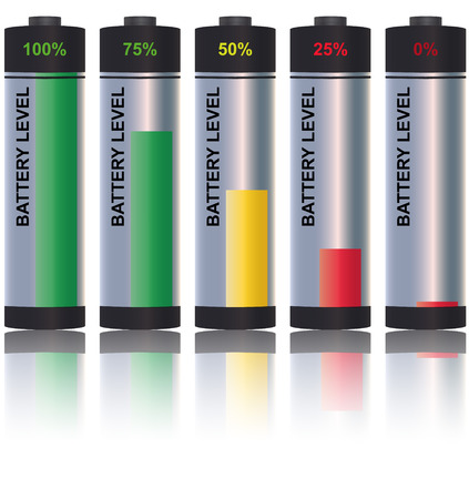 level battery with percentage 100% 75% 50% 25% 0%  Vector