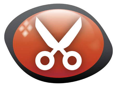 cut icon oval red Vector