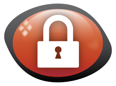 lock icon oval red Vector