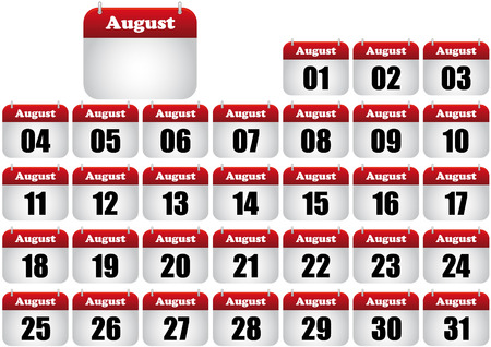 månader: august calendar illustration. icon for web