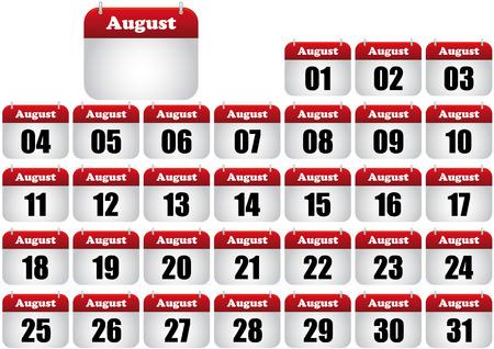 calendrier jour: illustration du calendrier ao�t. ic�ne de web
