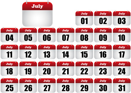 july calendar illustration. icon for web Stock Vector - 8476883