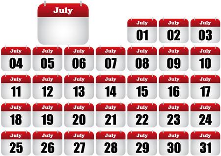july calendar illustration. icon for web Stock Vector - 8476883