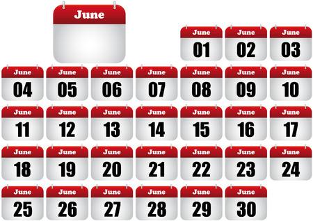 june calendar illustration. icon for web Stock Vector - 8476882