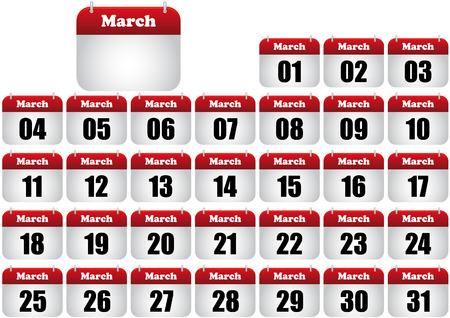 march calendar illustration. icon for web Stock Vector - 8476885