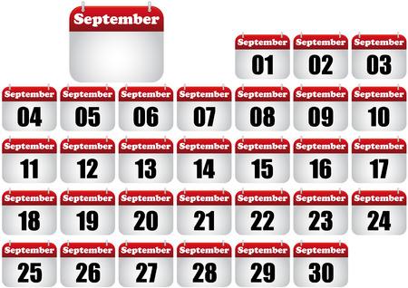 calendario septiembre: Ilustraci�n de calendario de septiembre. icono para web