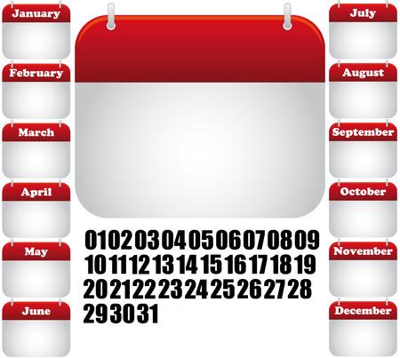 calendrier jour: calendrier tous les mois. ic�ne de web Illustration