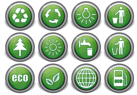 set eco green icons with white symbols Stock Vector - 8495648