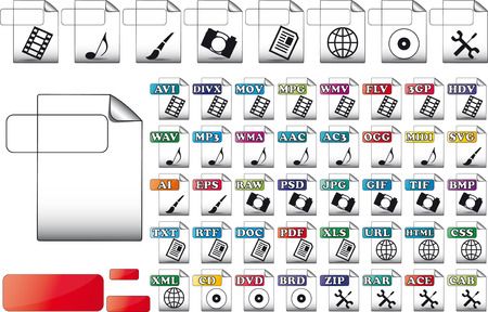 set format file icons for use multimediale  Illustration