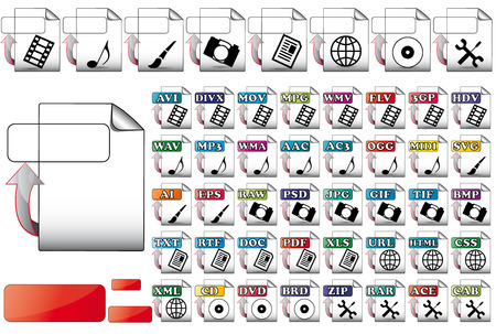 set upload format file icons for use multimedia  Stock Vector - 8525327