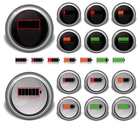 indicatore: impostare il livello di energia Icone colore bianco e nero