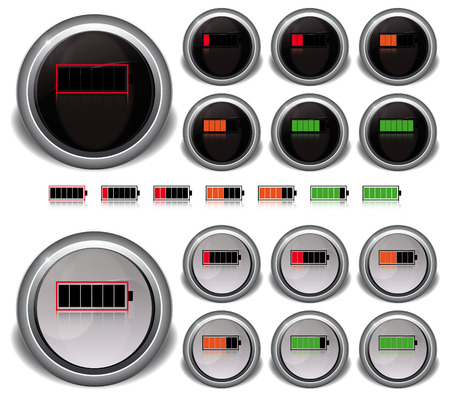set energy level icons color white and black Vector