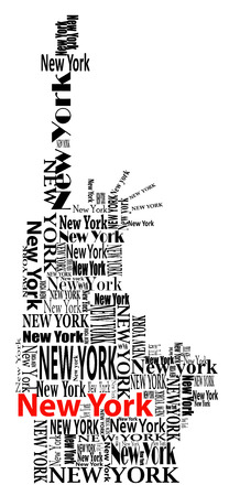 statue of liberty: abstract statue of liberty with words New York  Illustration