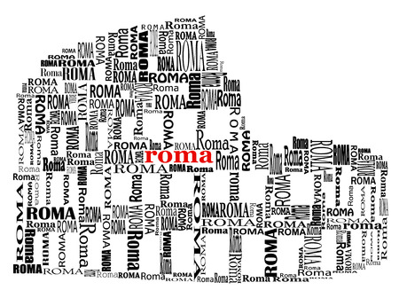 abstract colosseo with words Roma in black and red  Illustration