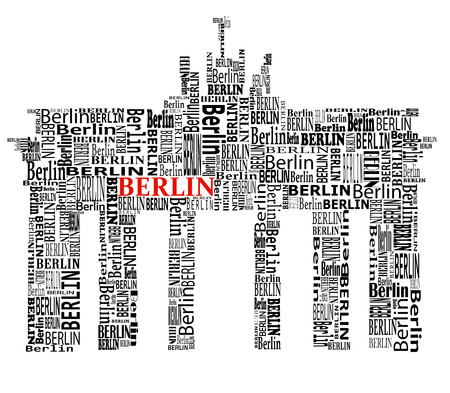 abstract Brandenburg gate with words berlin