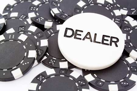 closeup fo chip dealer and black fiches for gambling Stock Photo - 8548117