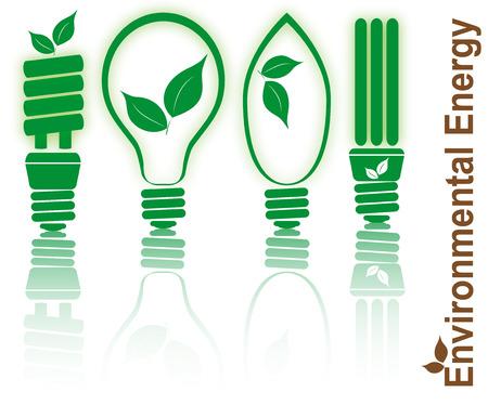 natural light: establecer la ilustraci�n de la bombilla estilizado con la ecolog�a de la hoja