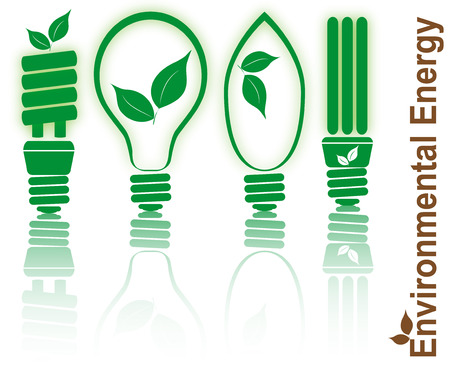 set illustration of light bulb stylized with leaf ecology Illustration
