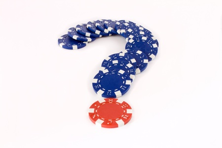 closeup of blue and red chips for simulate question Stock Photo - 8577540