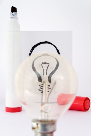 real lightbulb and illustration lightbulb focus with drawing pen Stock Illustration - 8577560