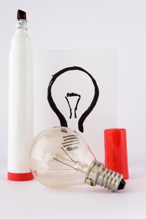 real lightbulb and illustration lightbulb with drawing pen Stock Illustration - 8577553