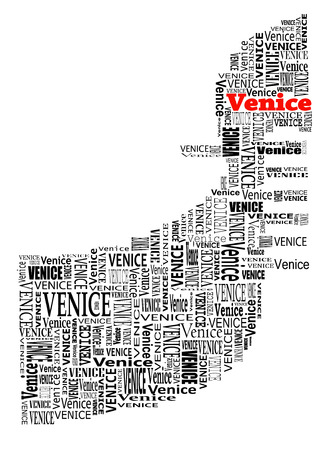 abstract gondola with words venice