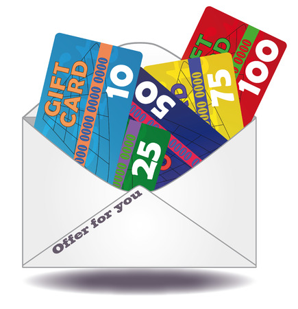 red and yellow card: illustration of gift cards in mail