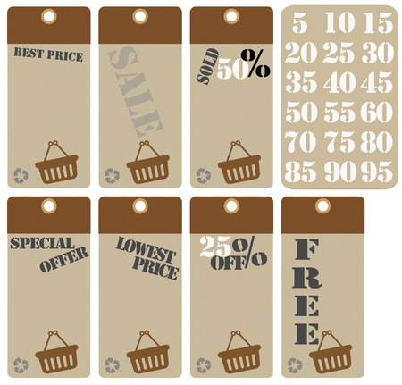 75 80: set sale tags icons, brown color