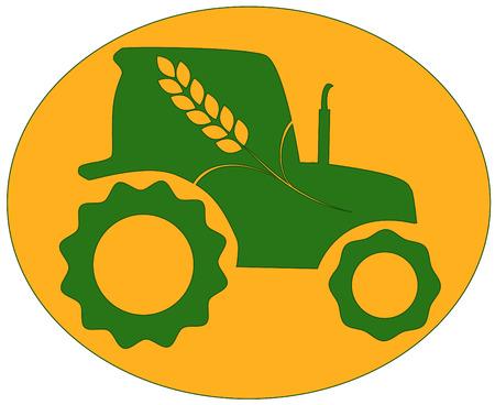cosecha de trigo: tractor verde con spike en fondo naranja