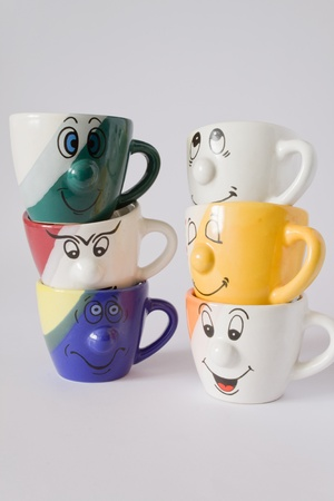 six cup with emotions Stock Photo - 8752236