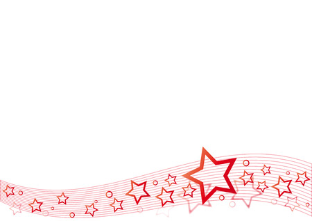 star shapes: red star and circle background horizontal