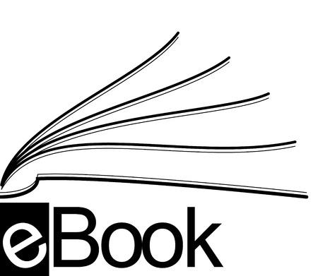 book logo: icono de mitad de eBook  Vectores