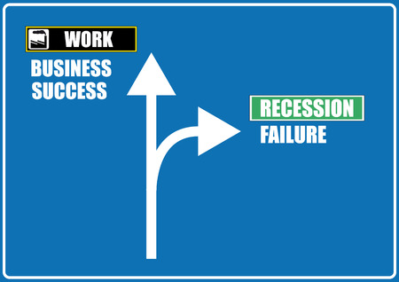 work and recession signal road  Vector