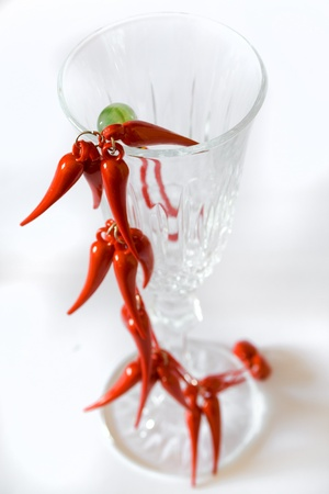 lucky charm: red lucky charm on elegant glass