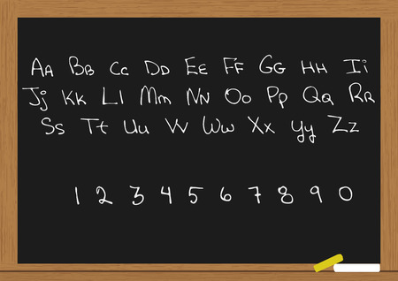 letters and numbers in chalkboard Vector
