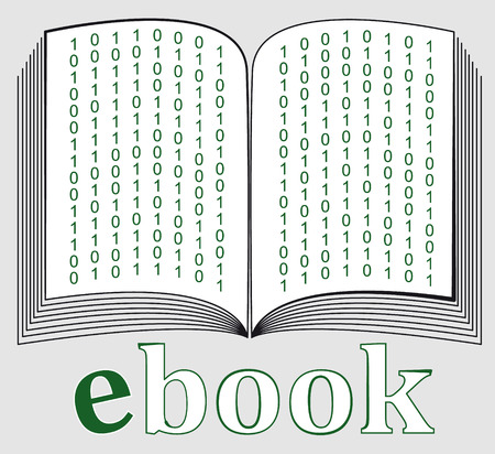 ebook icon with green binary code  Vector
