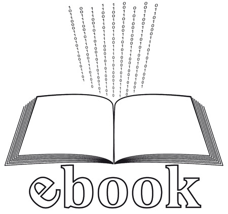 electronic book: ebook icon with binary code  Illustration
