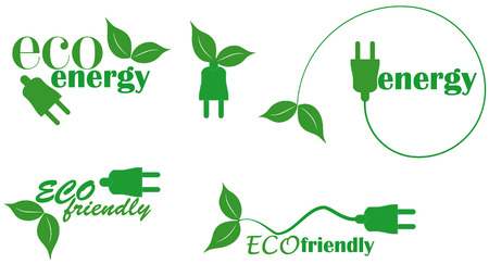 set of eco energy with plug and leaf Stock Vector - 9092860